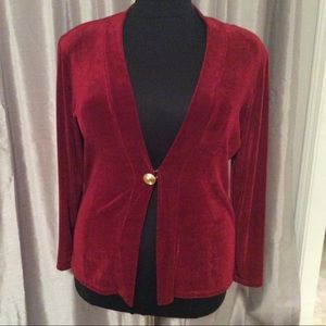 Burgundy Jersey Long Sleeve Cardigan